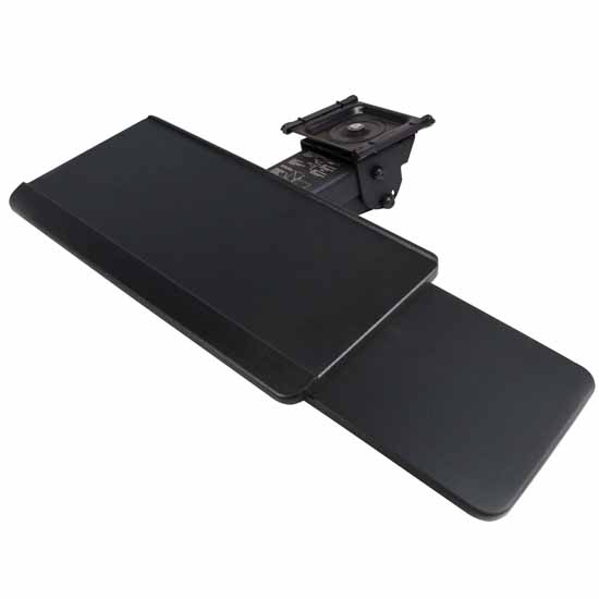 """Knape & Vogt 17"""" Classic Arm With Keyboard Tray With Slide Through Mousing Surface in Black Finish"""