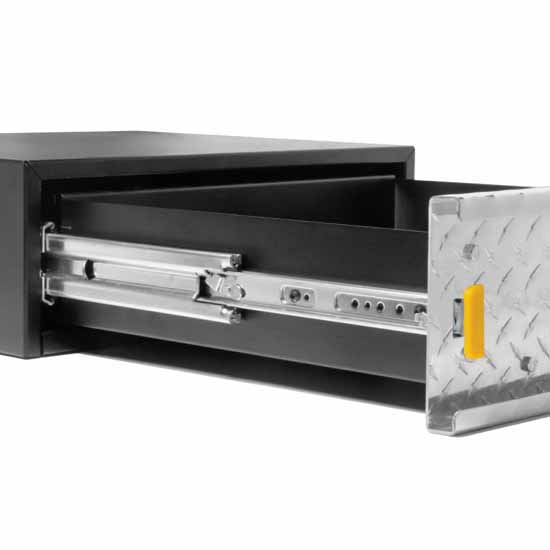 Knape & Vogt  Lock-in/Lock-out, Extra Heavy Duty Side Mounted 150-500 lb Ball Bearing Drawer Slide in Zinc Finish