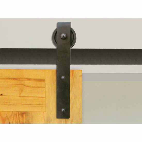 "Knape & Vogt 3"" Side Mount Hook Carriers, Flat Rail Sliding Door Hardware Kit, Black"