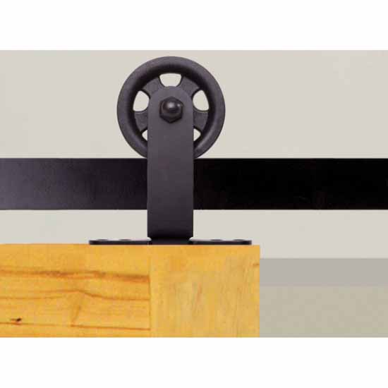 "Knape & Vogt 3"" Top Mount Carriers, Flat Rail Sliding Door Hardware Kit, Black"