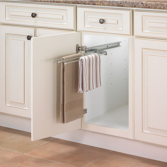 pull out towel bars for kitchen or vanity cabinet from