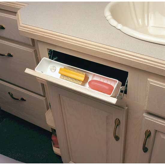 Knape & Vogt Polymer Sink Front Tray With Ring Holder, White