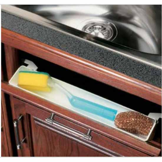 Knape & Vogt Polymer Deep Depth Sink Front Tray with Tab Stops, White, 15-3/8''W x 2-3/4''D x 3''H
