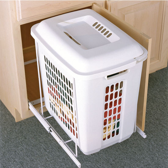 Knape & Vogt Plastic Bin Roll-Out Hamper, White Finish