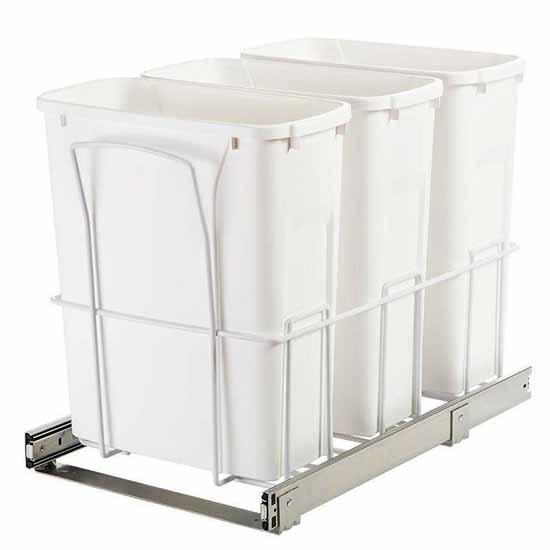 Knape Vogt 24 In H X 3 In W X 13 In D Steel Appliance: Multi Waste Bin Pull-Out In White Finish By Knape & Vogt