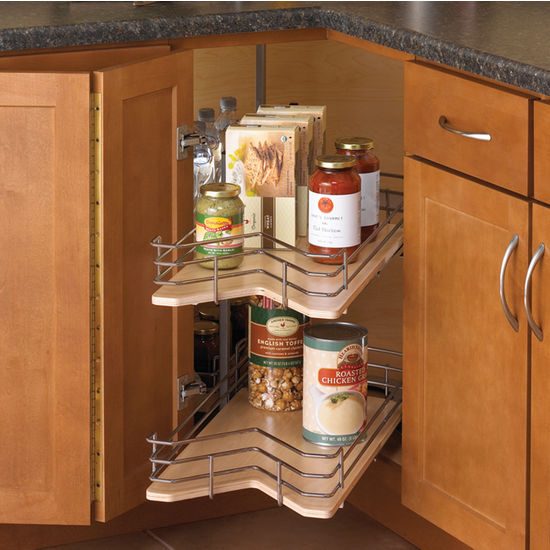 Kidney-Shaped Wood Lazy Susan Drawer System