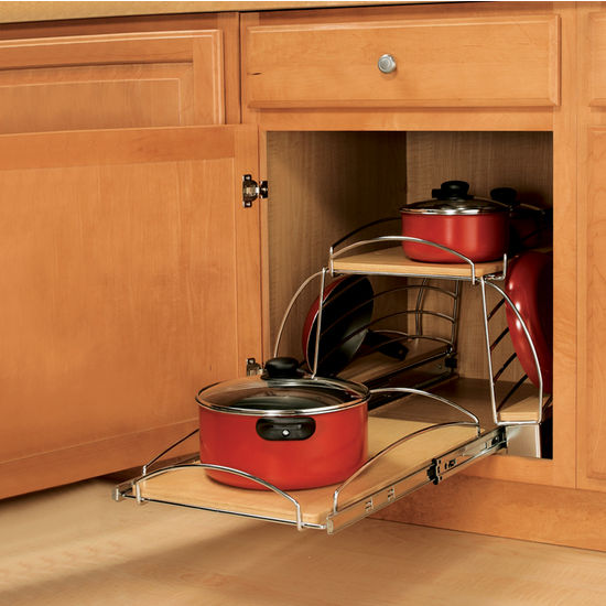 Pull Out Sliding Metal Kitchen Pot Cabinet Storage: Slide-Out Pot And Pan Caddy For Kitchen Base Cabinetr By