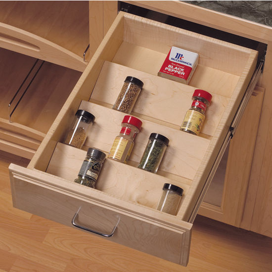kitchen storage trays knape amp vogt wood spice tray drawer insert kitchensource 3192