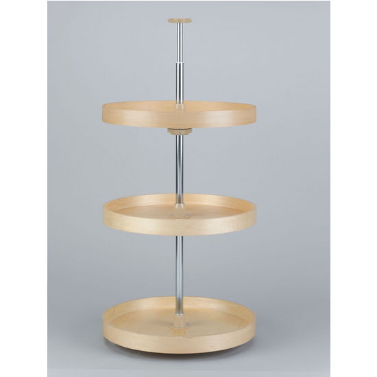 Full Round Banded Wood 3-Tray Lazy Susan