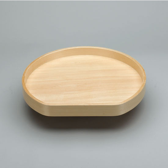 D-Shape Banded Wood Single Tray Lazy Susan