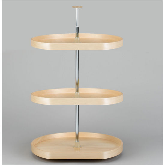 D-Shape Banded Wood 3-Tray Lazy Susan
