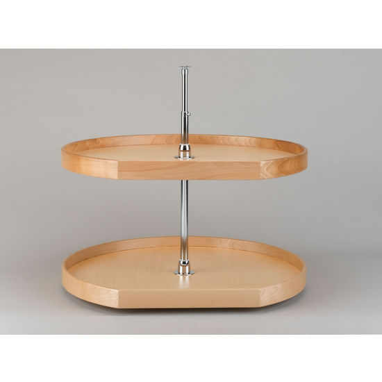 D-Shape Wood 2-Tray Lazy Susan