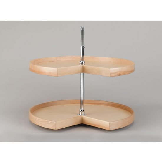 Kidney Shaped Natural Wood 2-Tray Lazy Susan