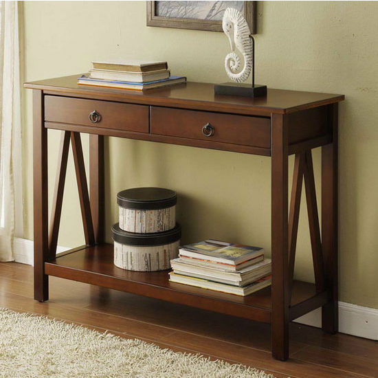 Linon Titian Console Table, Antique Tobacco