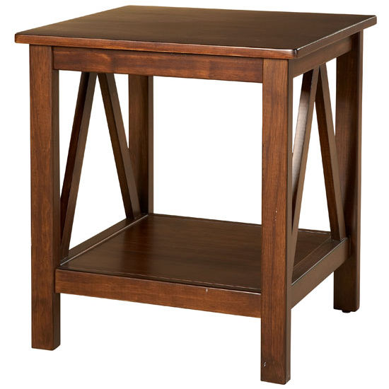 Linon Titian End Table, Antique Tobacco With Free Shipping