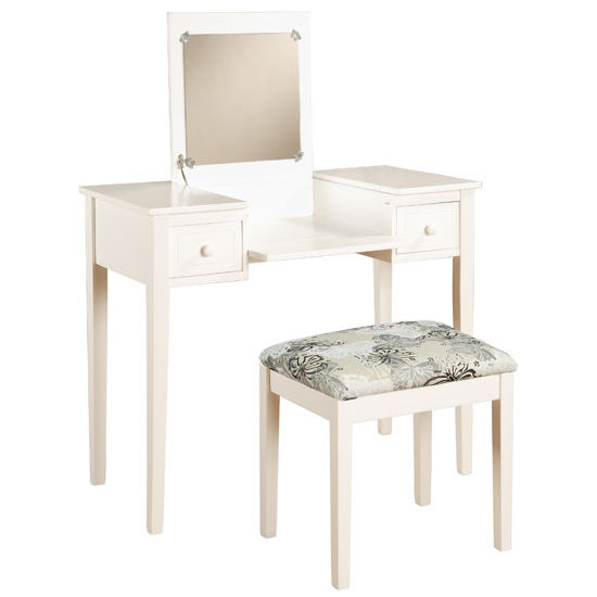 Linon Vanity Set with Butterfly Bench, White