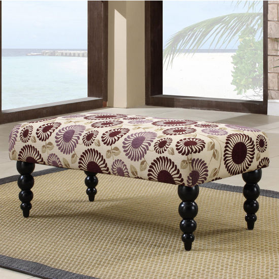 Linon Claire Bench, Purple Floral with Black Legs
