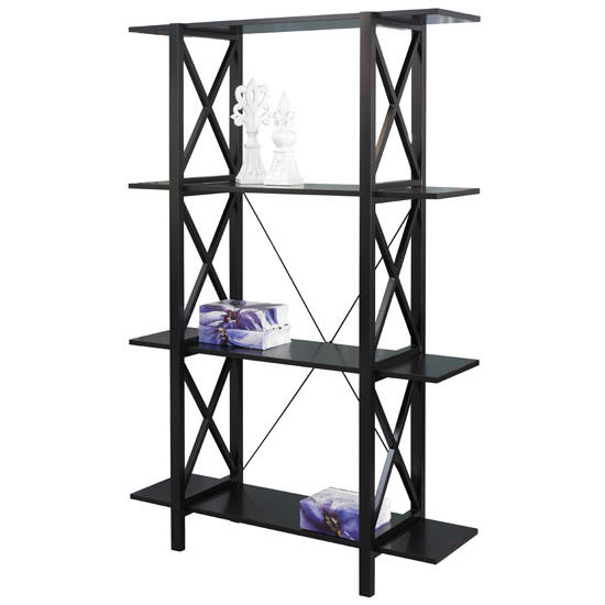Linon Anna Double Bookcase, Antique Black