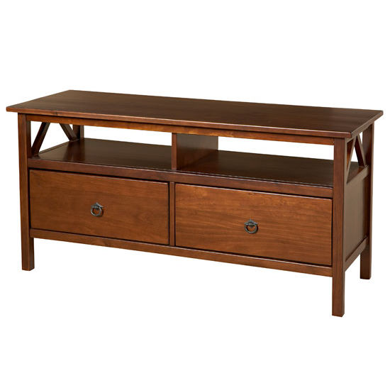 Linon Titian TV Stand, Antique Tobacco With Free Shipping