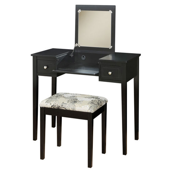 Linon Vanity Set with Butterfly Bench, Black