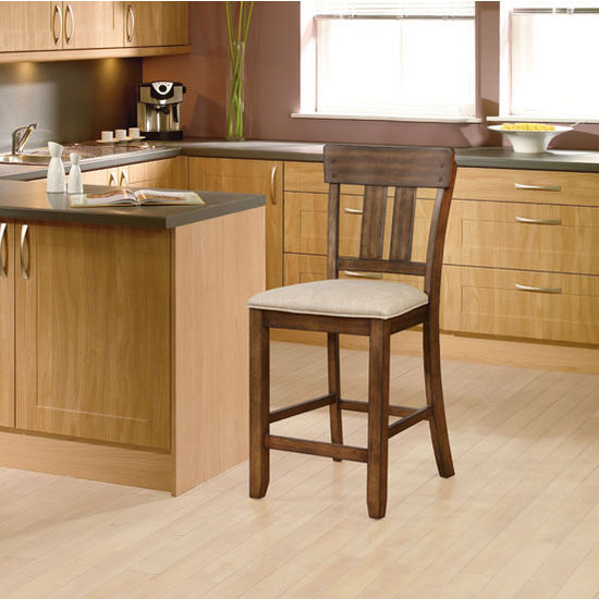 """Linon Melville Counter Stool in Walnut Finish and Beige Fabric, 18-1/2"""" W x 22"""" D x 41"""" H"""