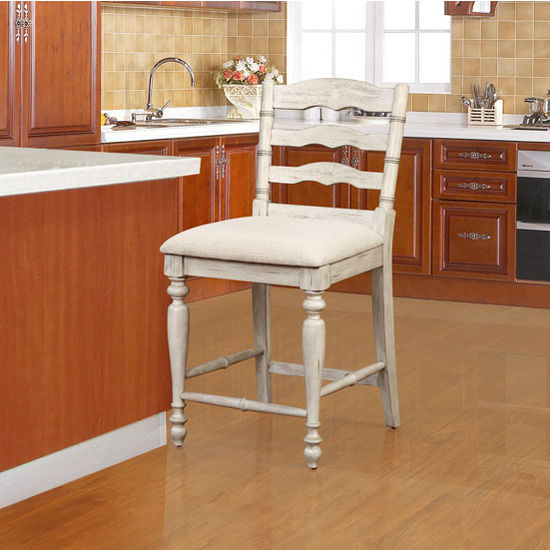 "Linon Marino Counter Stool in White Wash Finish and Linen Fabric, 19-1/2"" W x 22-3/4"" D x 39"" H"