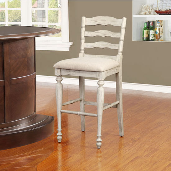 Marino Counter Or Bar Height Stool In White Wash Finish