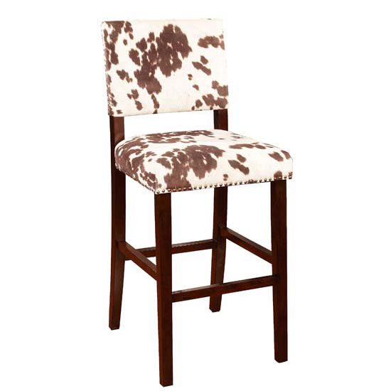 Linon Corey Stool Stone With Brown Finished Frame And