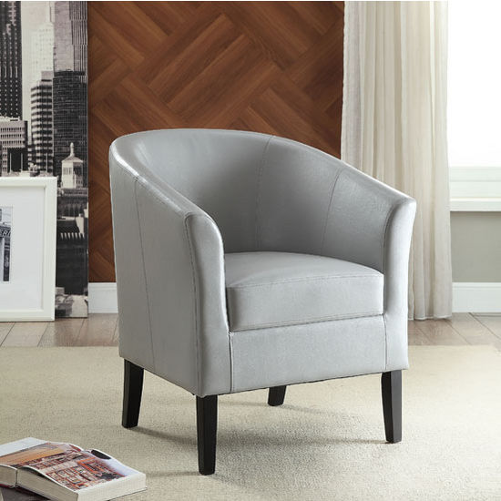 "Linon Simon Light Grey Chair in Black Finish and Gray PU Fabric, 28-1/4"" W x 25-1/2"" D x 33"" H"