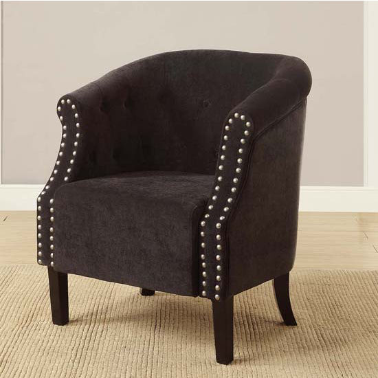 Tyrone Tufted Barrel Chair with Nail Heads