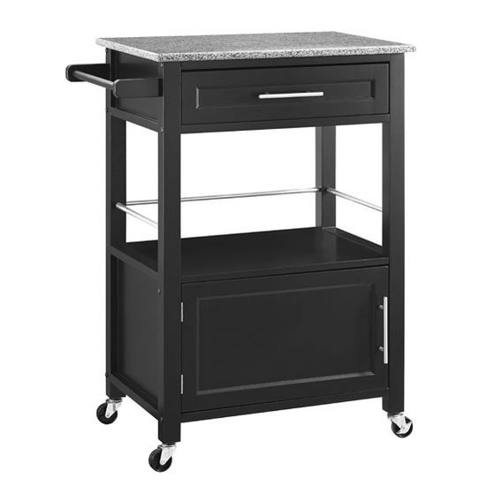Linon Mitchell Kitchen Cart With Granite Top White