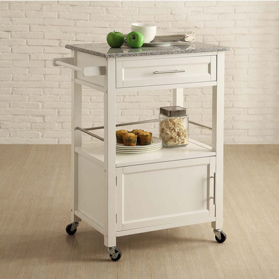 Mitchell Mobile Kitchen Cart With Granite Top In Black Or White 27