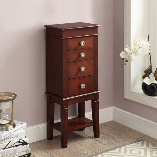 "Linon Madison Jewelry Armoire in Dark Walnut, 13-2/5"" W x 9"" D x 35"" H"