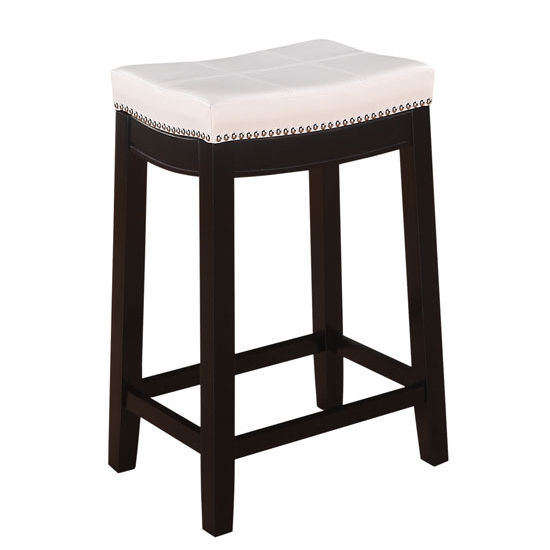 Linon Claridge Black Counter Stool With Patch Designed Top