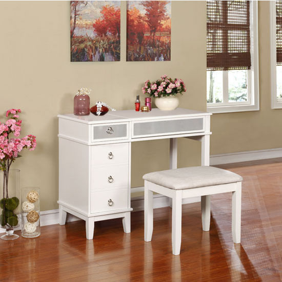 52 Splendid Home Bar Ideas To Match Your Entertaining: 580456WHT01U Eva Vanity Set In White Finish With Mirrored