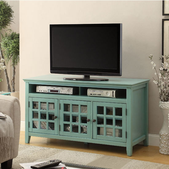 "Linon Largo Media Cabinet in Turquoise, 48"" W x 20"" D x 27"" H"