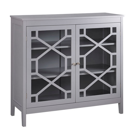 Linon Fetti Large Cabinet In Gray, ...