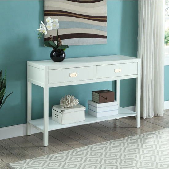 "Linon Peggy Console Table in White, 44"" W x 15"" D x 30"" H"