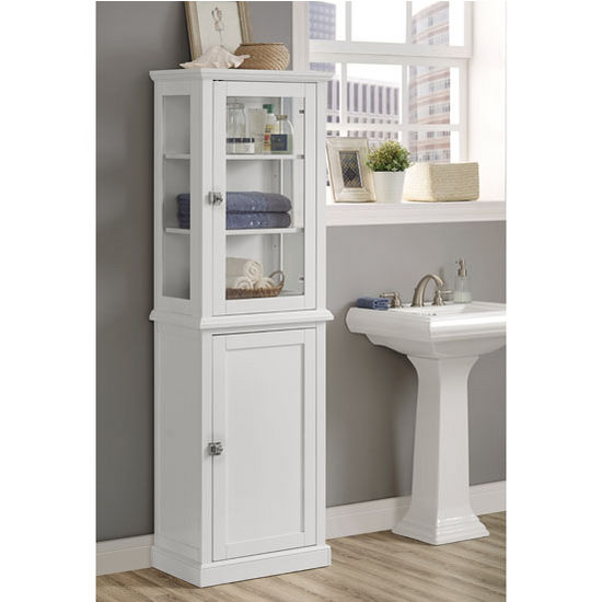 """Linon Scarsdale Freestanding Tall Cabinet in White, 21-21/32"""" W x 13-25/64"""" D x 68-5/16"""" H"""