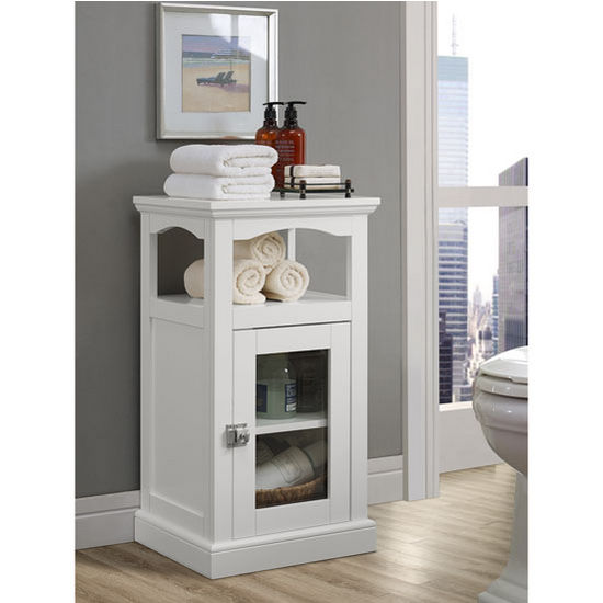 "Linon Scarsdale Freestanding Demi Cabinet in White, 15-3/4"" W x 13-25/64"" D x 28-53/64"" H"