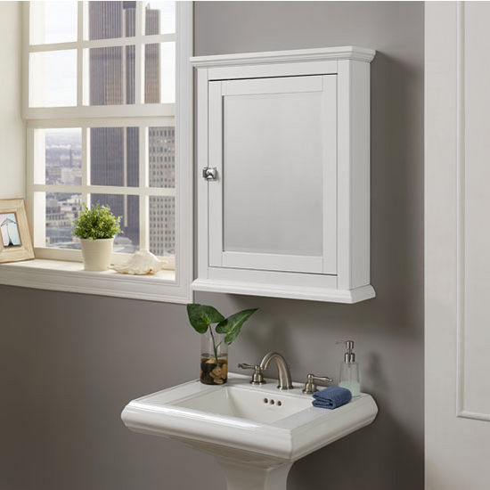 "Linon Scarsdale Wall Mounted Medicine Cabinet in White, 23-5/8"" W x 6-7/32"" D x 30"" H"