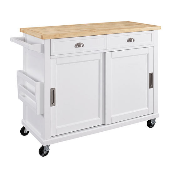 K464906whtabu Sherman Mobile Kitchen Cart In White With