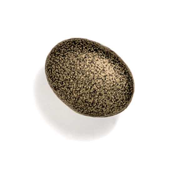 Modern Objects Bamboo & Stone Collection 1-5/8'' Diameter Stone 4 Oval Knob in Antique Brass, 1-5/8'' Diameter x 1'' D x 1'' H