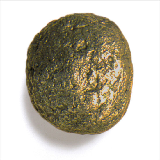 Modern Objects Bark, Leaves & Rocks Collection 1-1/2'' Diameter Rock 7 Round Knob in Antique Brass, 1-1/2'' Diameter x 1'' D x 1'' H