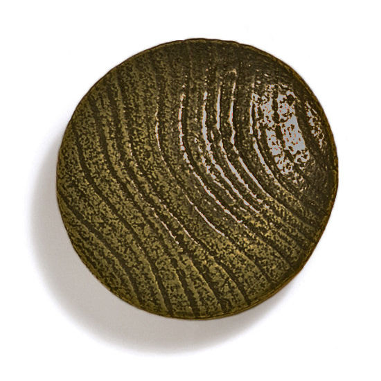 Modern Objects Bark, Leaves & Rocks Collection 1-7/8'' Diameter Round Large Shaker Knob in Antique Brass, 1-7/8'' Diameter x 3/4'' D x 3/4'' H