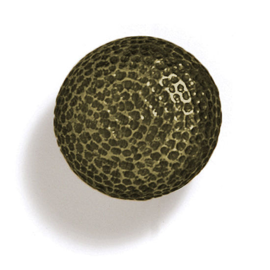 Modern Objects Bark, Leaves & Rocks Collection 1-1/4'' Diameter Round Hammered Knob in Antique Brass, 1-1/4'' Diameter x 1-1/4'' D x 1-1/4'' H