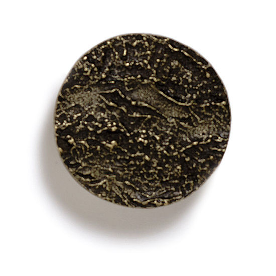 Modern Objects Bark, Leaves & Rocks Collection 1-7/8'' Diameter Round Bark Knob in Antique Brass, 1-7/8'' Diameter x 3/4'' D x 3/4'' H