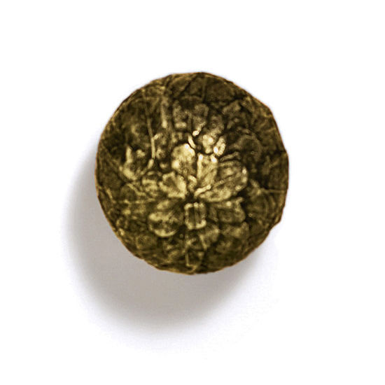 Modern Objects Bark, Leaves & Rocks Collection 1-1/4'' Diameter Round Leaves Ball Knob in Antique Brass, 1-1/4'' Diameter x 1-1/2'' D x 1-1/2'' H