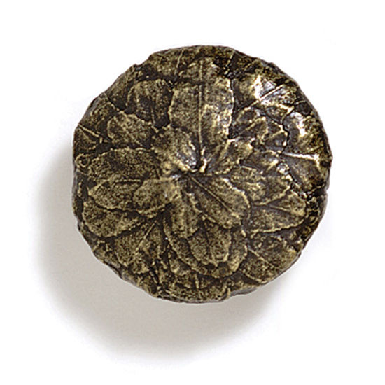 Modern Objects Bark, Leaves & Rocks Collection 1-5/8'' Diameter Round Large Leaves Knob in Antique Brass, 1-5/8'' Diameter x 1'' D x 1'' H