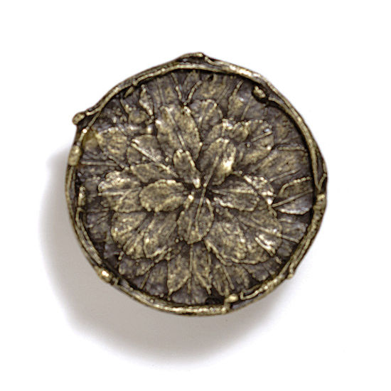 Modern Objects Bark, Leaves & Rocks Collection 1-7/8'' Diameter Round Leaves with Branch Knob in Antique Brass, 1-7/8'' Diameter x 3/4'' D x 3/4'' H